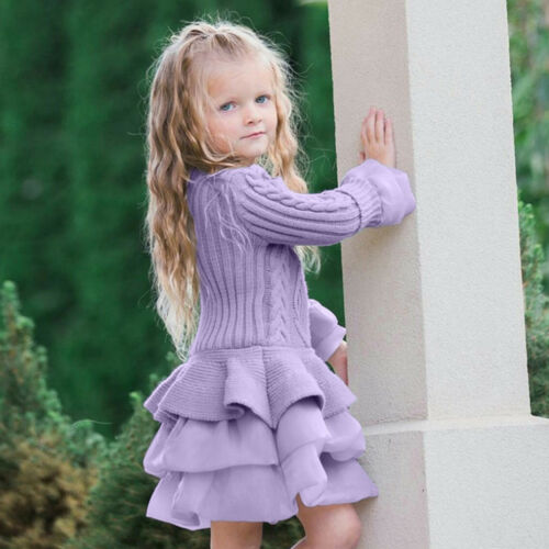 Kids Girls Knitted Sweater Winter Pullovers Crochet Mini Tutu Dress Tops Clothes