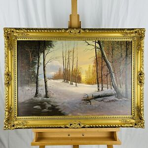 Vintage-Large-Winter-Landscape-Oil-on-Canvas-in-Ornate-Gilt-Wood-Frame