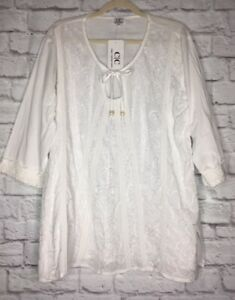 Large-XL-1X-2X-New-White-Cotton-Embroidered-Lace-Boho-Tunic-Peasant-Top-Blouse