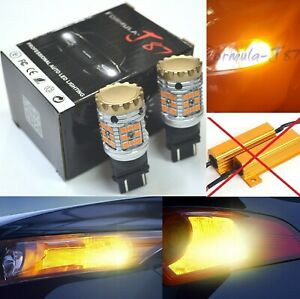 Canbus-Error-Free-LED-Light-3157-Amber-Two-Bulbs-Rear-Turn-Signal-Upgrade-Lamp