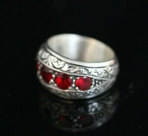 925-Sterling-Silver-Handmade-Authentic-Turkish-Ruby-Men-039-s-Ring-Size-9-11