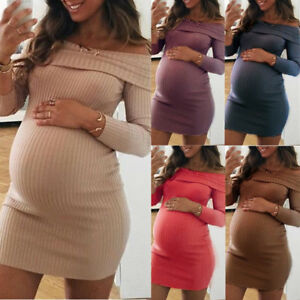 Women-Maternity-Dress-Off-Shoulder-Nursing-Pregnancy-Long-Sleeve-Jumper-Dress-UK