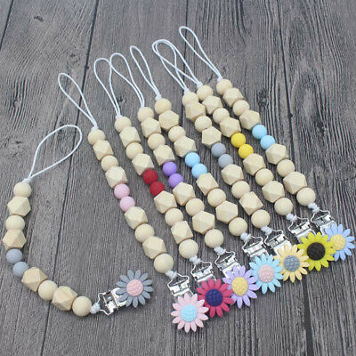 NEW DIY Silicone  Dummy Pacifier Chain Soother Baby Teething Sunflower Clips