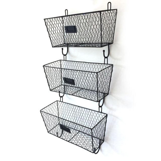 Wall Mount Rack Fruit 3x Basket Holder Storage Metal Wire Tier Bin Shelf Kitchen