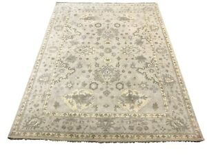 9X12-Light-Gray-Oushak-Area-Rug-Hand-Knotted-Wool-Oriental-Carpet
