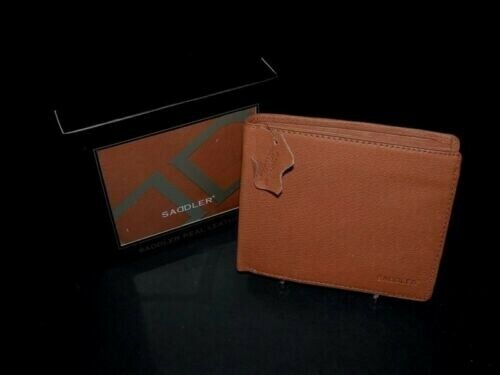 Saddler Leather Mens Wallet 7 CC Slots 2 Bank Note & Coin Section Oak Tan 2122