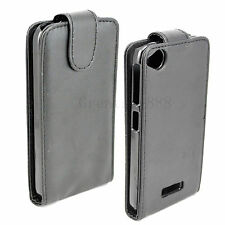 Magnetic Leather Skin Black Pouch Hard Shell Cover Case Fit For HTC Desire 320