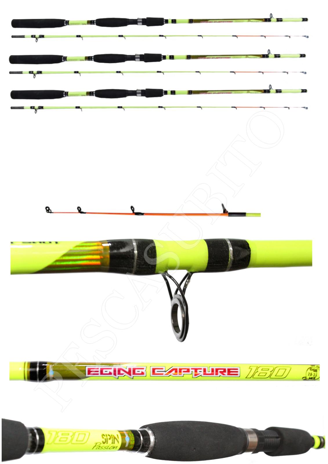Kit 3 Canne Pesca Eging 1,80Mt Seppia Calamaro Seppie Calamari Barca Riva
