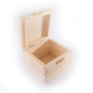 Details about Small Square Pine Hinged Wooden Box With Lid & Clasp /  Trinket Keepsake Memory