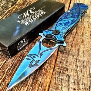 8-DRAGON-BLUE-Spring-Assisted-Open-Blade-FOLDING-POCKET-KNIFE-SHOGUN-WARRIOR