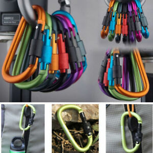 2pcs-Aluminum-Alloy-Carabiner-D-Ring-Key-Chain-Clip-Hook-Outdoor-Buckle-AT