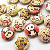 New Mix 100pcs Panda Rabbit Tiger Bear  Wood Sewing Buttons Bead 17mm Craft