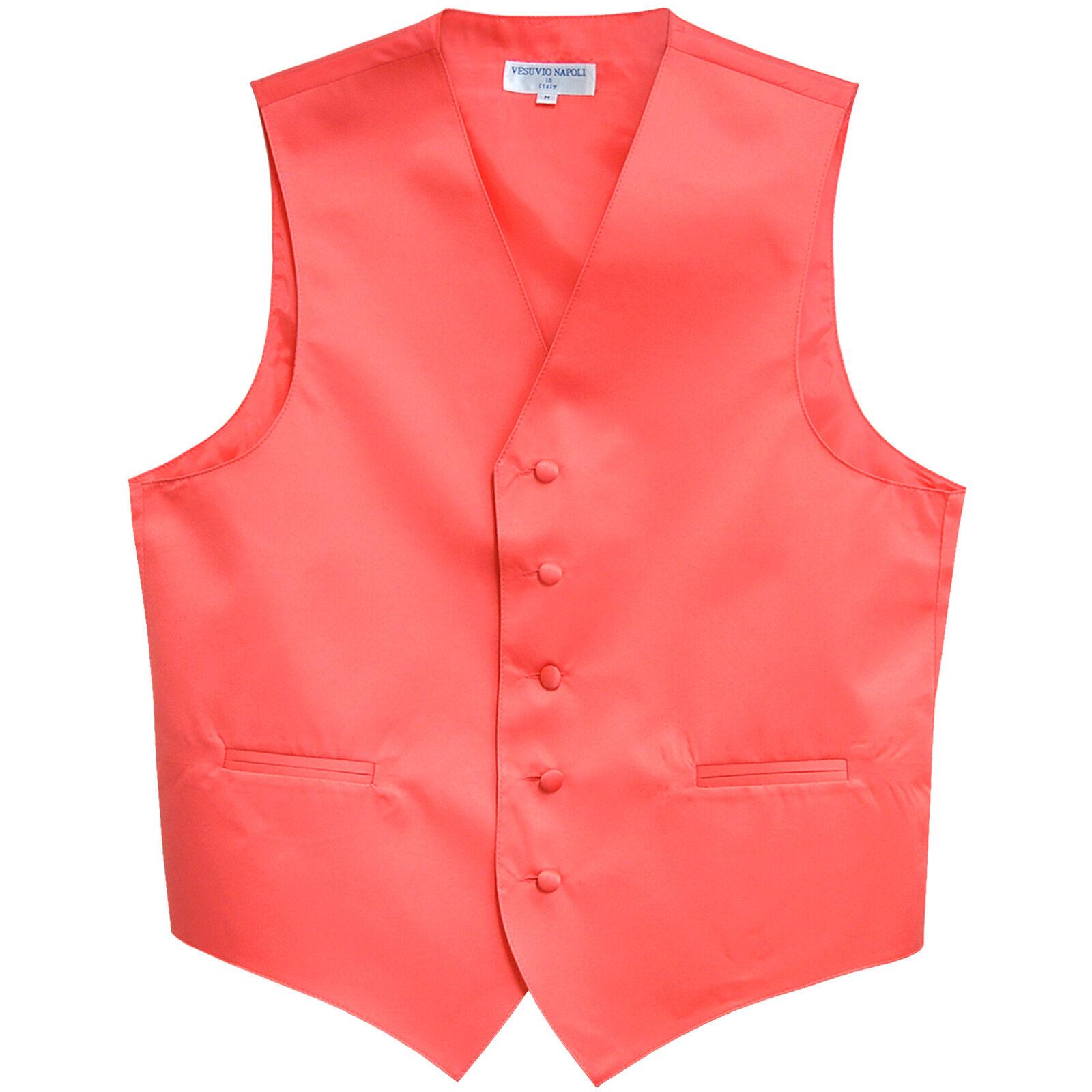 New Men's Vesuvio Napoli Tuxedo Vest Waistcoat only prom wedding Coral 5XL 6XL