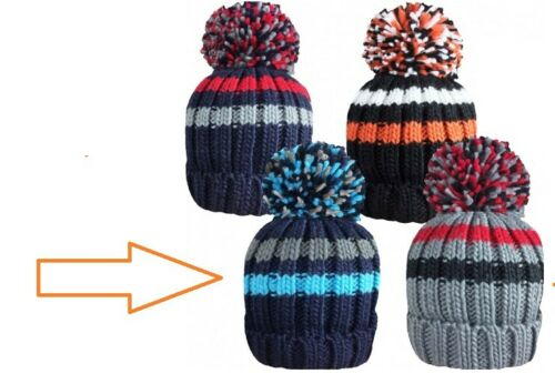 NEW Boys Kids Thermal Insulated Winter Warm Bobble Hat Beanie Ribbed Pom Pom UK