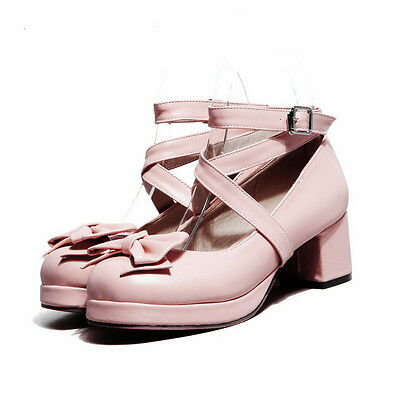 Womens Girls Chunky Heel Bowknot Lolita Sweet candy Mary janes Cross Strap Shoes