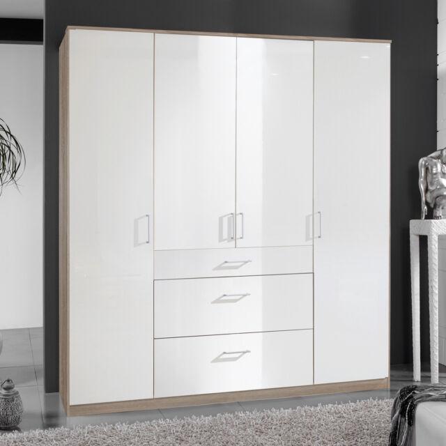 Kleiderschrank Clack Schlafzimmer Drehtürenschrank In Hochglanz weiß eiche  180cm