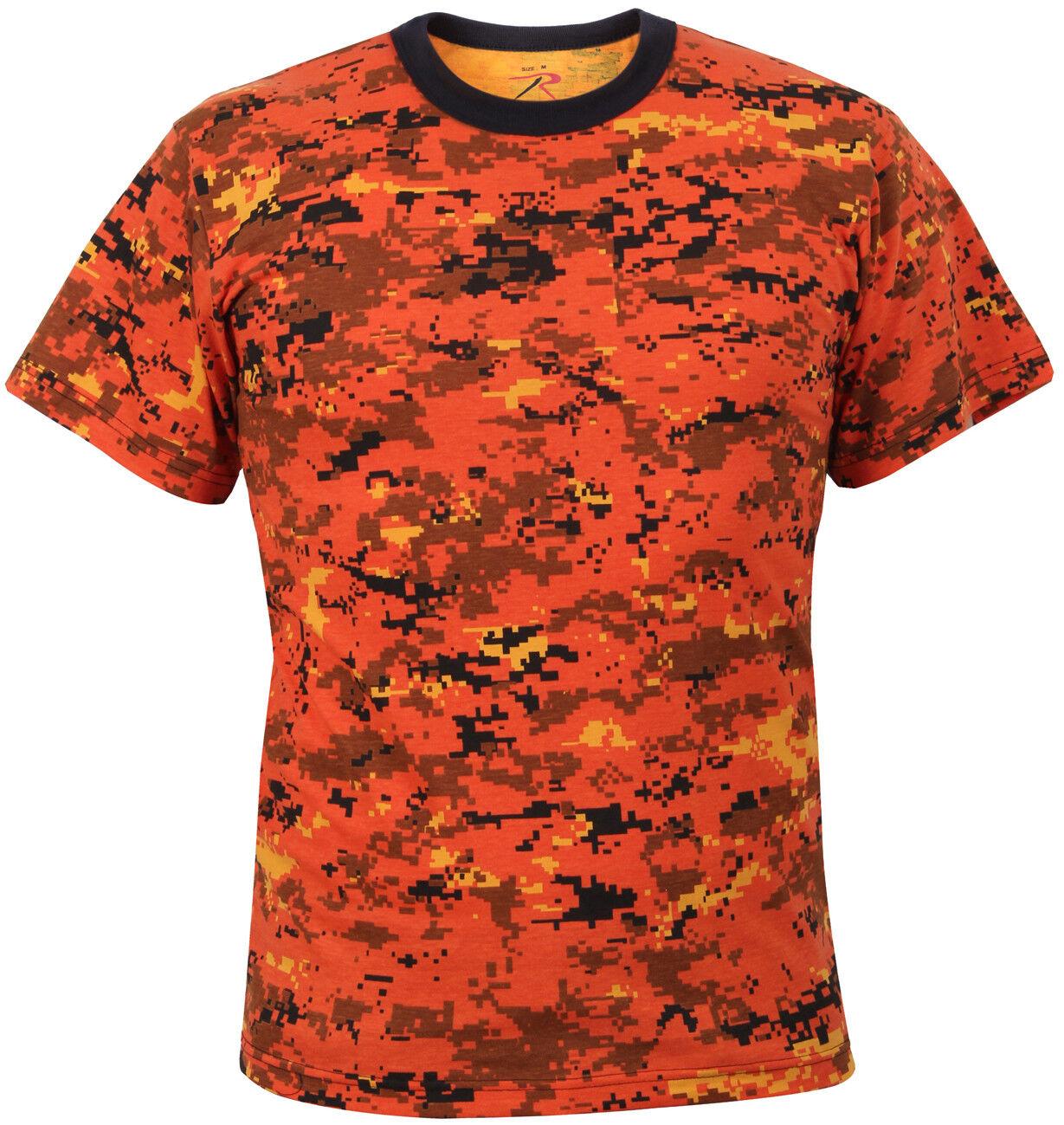 Camo t-shirt orange digital camouflage various sizes redhco 5735