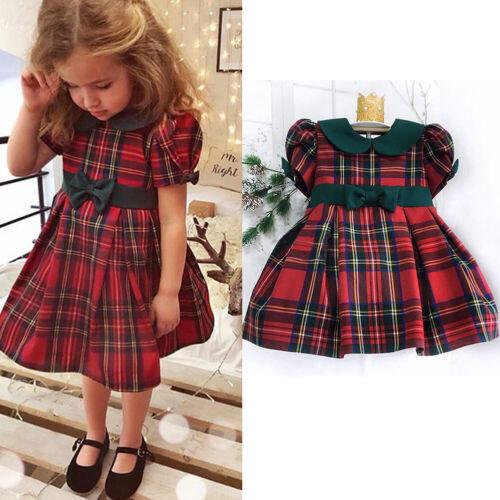 US Christmas Toddler Kids Baby Girls Clothes Plaid Tutu Dress Xmas Dresses Gifts
