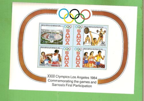 #D315. SAMOA STAMP MINISHEET 1984 LOS ANGELES OLYMPIC GAMES