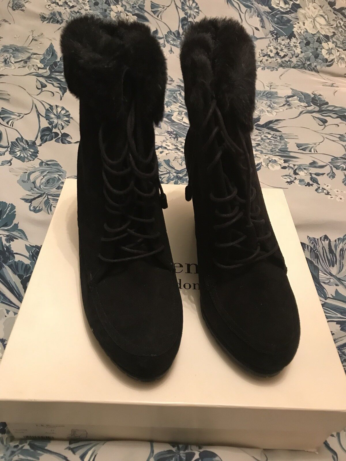 L K BENNETT BNIB Größe 41 schwarz SUEDE WEDGE HEEL CHARING ANKLE Stiefel