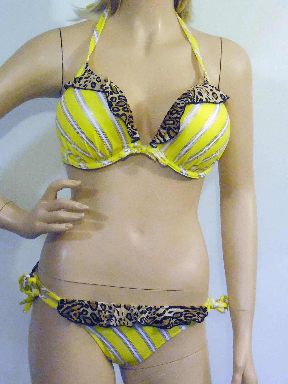 NEW VICTORIA'S SECRET BIKINI Yellow stripe foil 34D & Small
