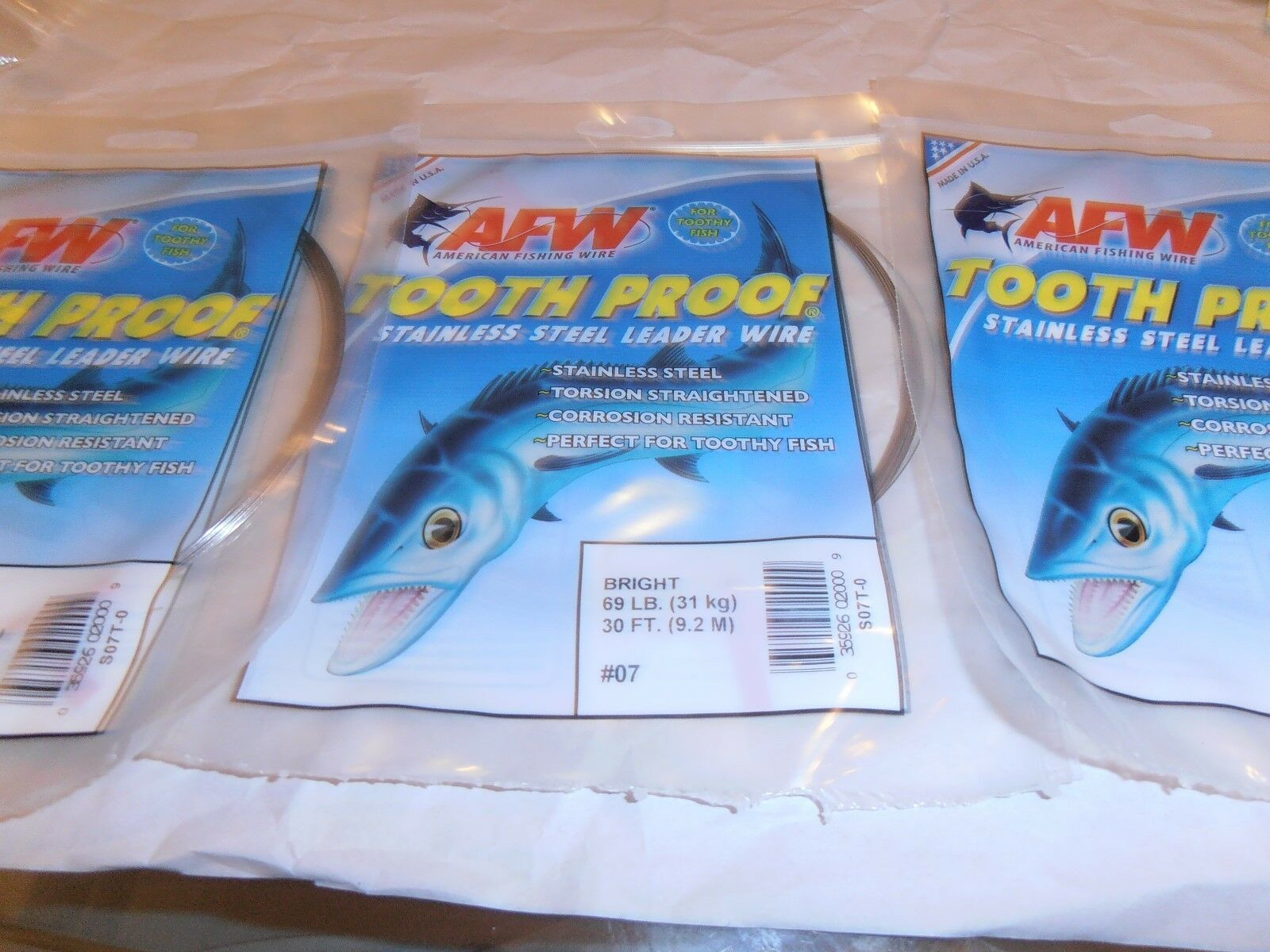 AFW TOOTH PROOF STAINLESS STEEL LEADER WIRE 30 FT.-3 PACK LOT #18-325 LB.