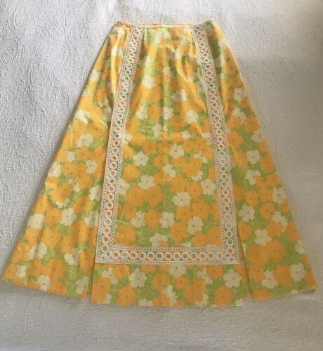 60's/70's Size 14 Vintage Floral Maxi Skirt lace L