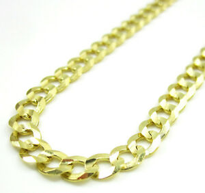 22-034-4-5mm-10gr-10k-Yellow-Gold-Miami-Cuban-Curb-Link-Chain-Necklace-Ladies-Mens