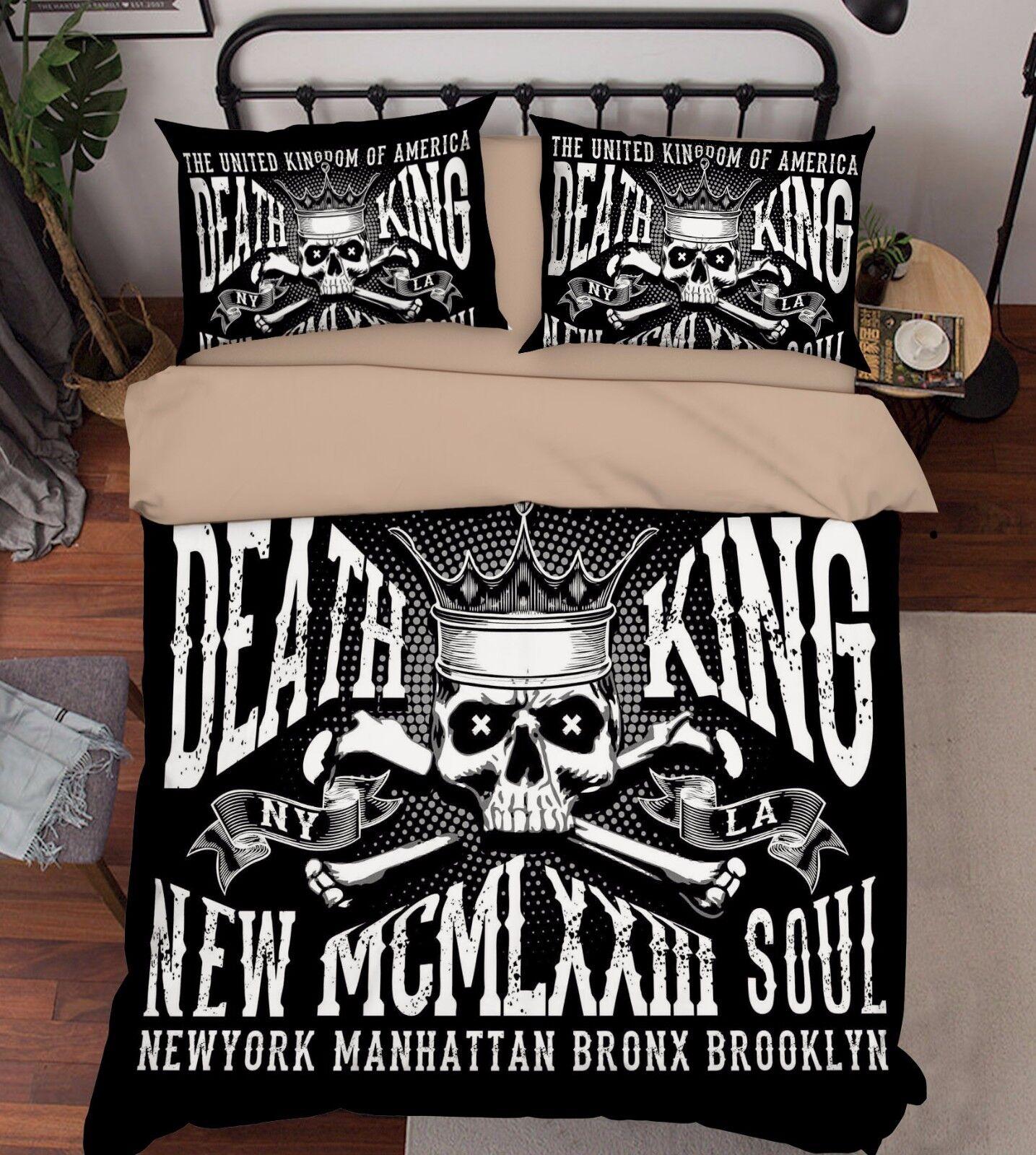 3D Stylish Skull King 521 Bed Pillowcases Quilt Duvet Cover Set Single Queen CA