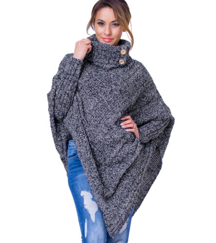 Women/'s Ladies Poncho Warm Knitted Jumper Sweater Cape with Sleeves