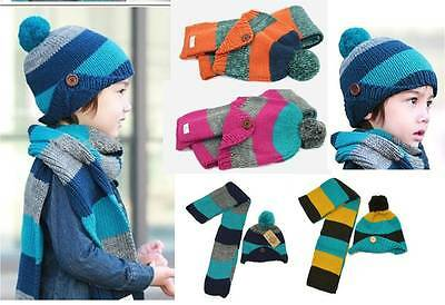 2PC Set Striped Knit Beanie +Scarf Toddler/Child Ear Flap Girl/Boy Winter Hat