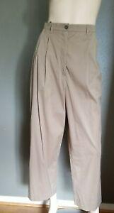 (36) Vintage AUTH JIL SANDER CROPPED WIDE LEG Khaki Pants Cotton EVC Pleat