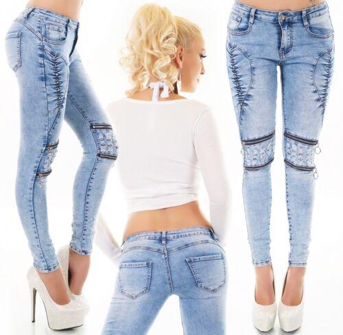 Damen Slim Fit Skinny Röhren Designer Stretch Hüft Jeans 36 38 40 42 hellblau