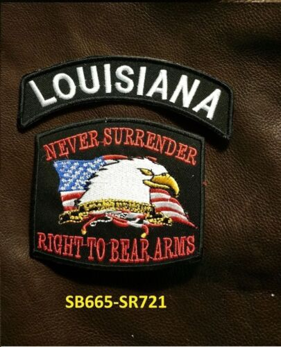 LOUISIANA and NEVER SURRENDER Small Patches Set for Biker Vest Jacket