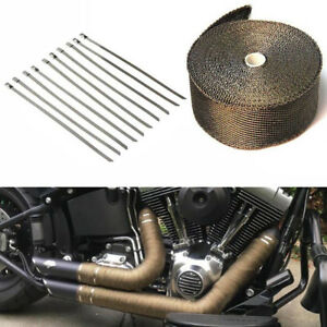 15m Basalt Titanium Heat Wrap Exhaust Manifold With 10 30cm Stainless Cable Ties