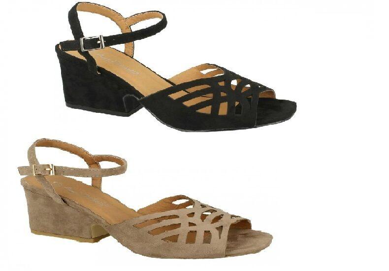 Ladies Black/Beige Anne Michelle Strappy Heeled Sandals UK Sizes 3 - 8 F10731
