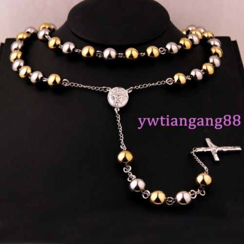 4//6//8//10mm Fashion 316L Stainless Steel Men Women Jesus Rosary Pendant Necklace