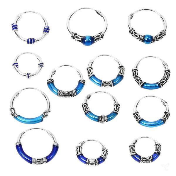 925 Sterlingsilber Ohrringe Keltische Creole Blau Larp Einzel / Paar Gothic Neu
