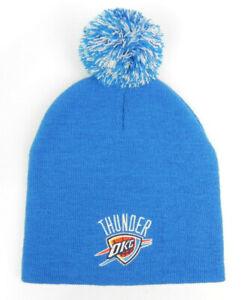 OKLAHOMA CITY OKC THUNDER NBA BLUE VINTAGE KNIT RETRO POM BEANIE CAP HAT NEW!