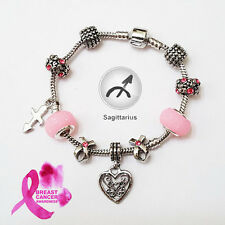 Stylish SAGITTARIUS Zodiac Purple Black Pink Murano Breast Cancer Charm Bracelet