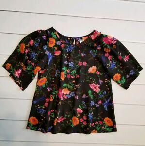 Old-Navy-Girls-Size-XL-14-Black-Multi-Color-Floral-Short-Flutter-Sleeve-Top