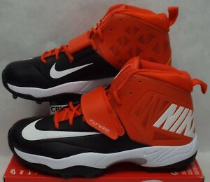 b34a24e02d8 New Mens 16 Nike Flywire Lineman 3 4 TD Football Cleats Black Orange ...