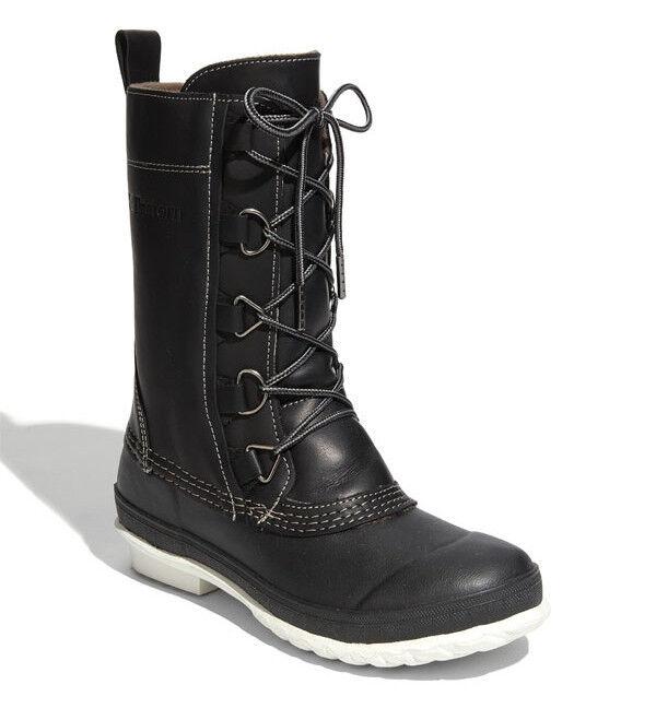 NEW Tretorn Aspelin Black Waterproof Leather Rain Boot Mid-Calf 7/38 All Weather