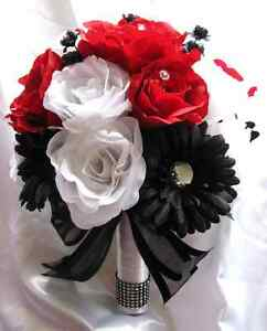 17 Pieces Wedding Bouquet Bridal Bouquets Silk Flowers Red White