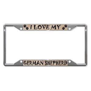 GERMAN-SHEPHERD-DOG-Metal-License-Plate-Frame-Tag-Holder-Four-Holes