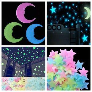 Fluoreszierende Leuchtende Sterne Leuchten Im Dunkeln Wandtattoo Kinderzimmer Ebay
