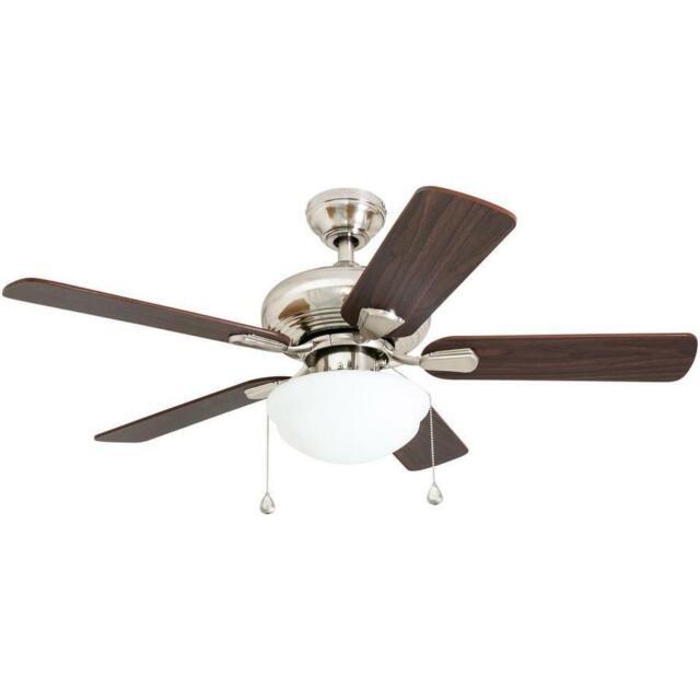 Harbor Breeze Caratuk River 52-in Brushed Nickel Mount Ceiling Fan w/ Light Kit