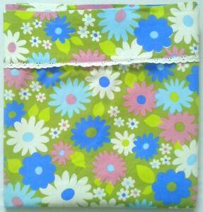 Vintage-Wabasso-Retro-Bedsheet-FULL-FLAT-Flower-Power-Green-Blue-Purple-Cotton