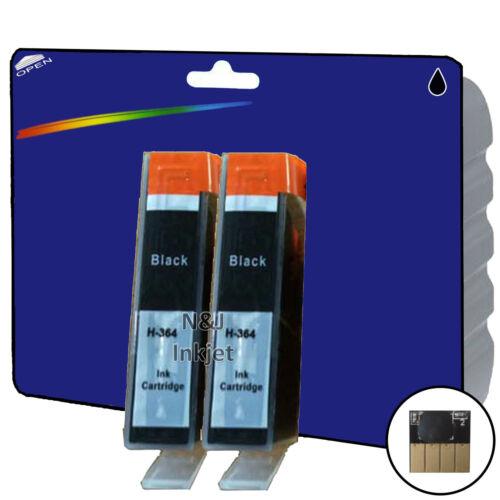 2 Black Chipped non-OEM Printer Ink Cartridges for HP 364 Range 364 x4