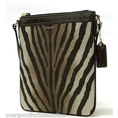 NWT COACH MADISON Zebra SWINGPACK CROSSBODY 50506 Animal Brown Multi Ocelot